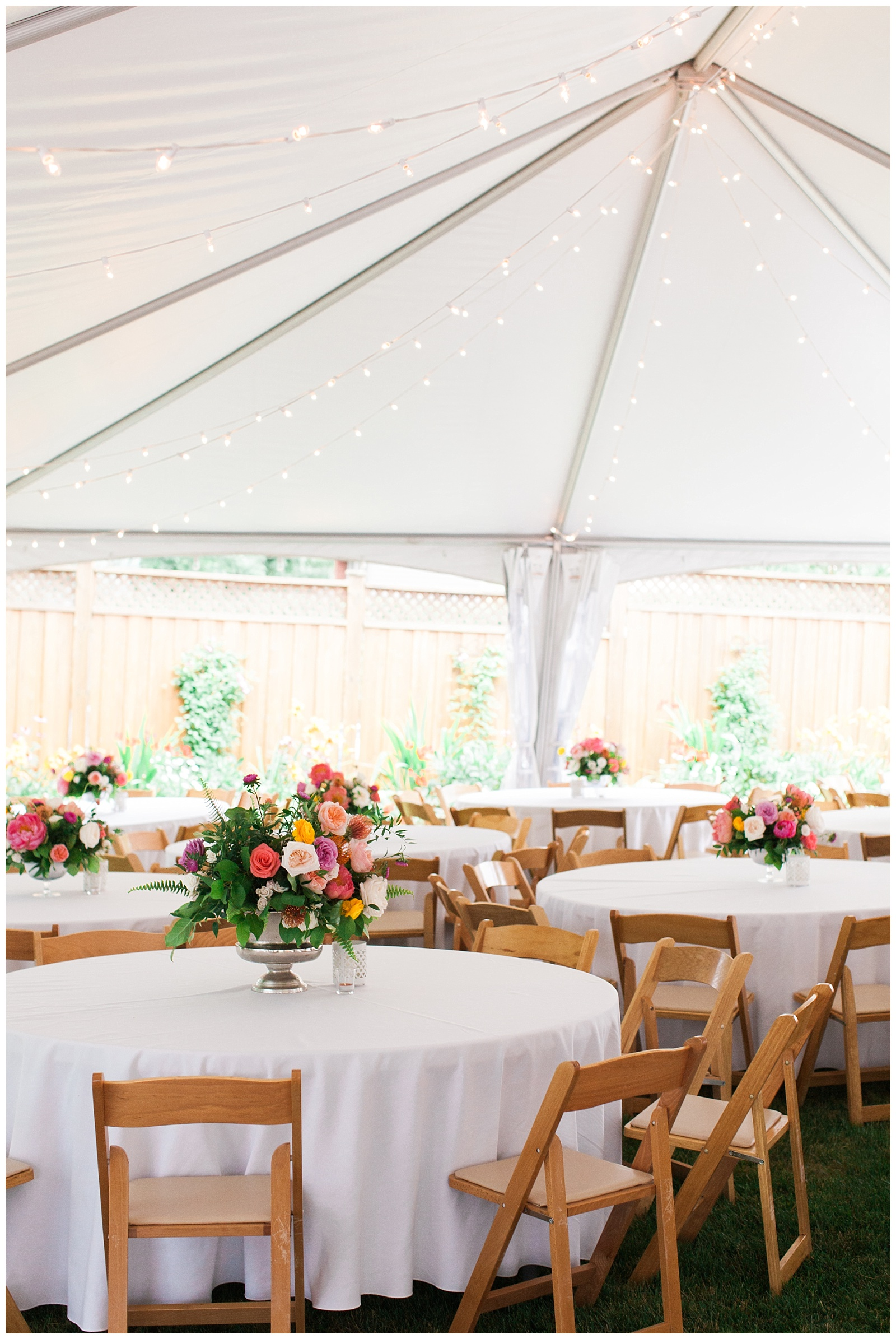 White tables and centerpieces under reception tent at Guelph Ontario Wedding | Ontario Wedding Photographer | Toronto Wedding Photographer | 3photography