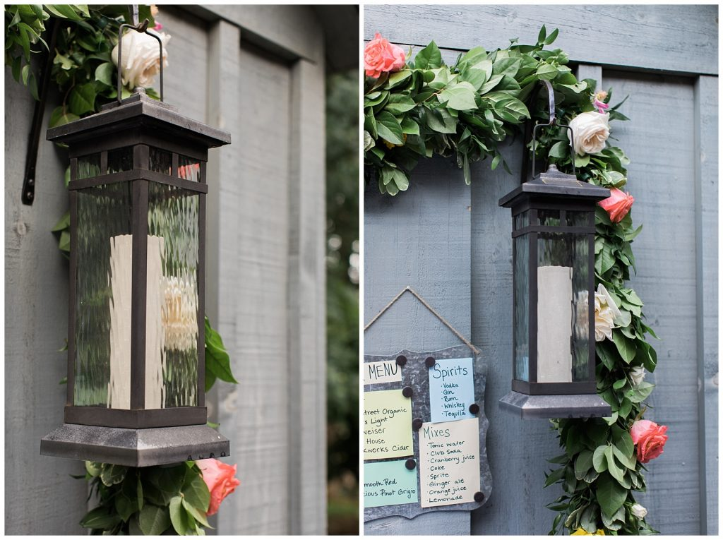 Lantern and garland for reception at Guelph Ontario Wedding | Ontario Wedding Photographer | Toronto Wedding Photographer | 3photography