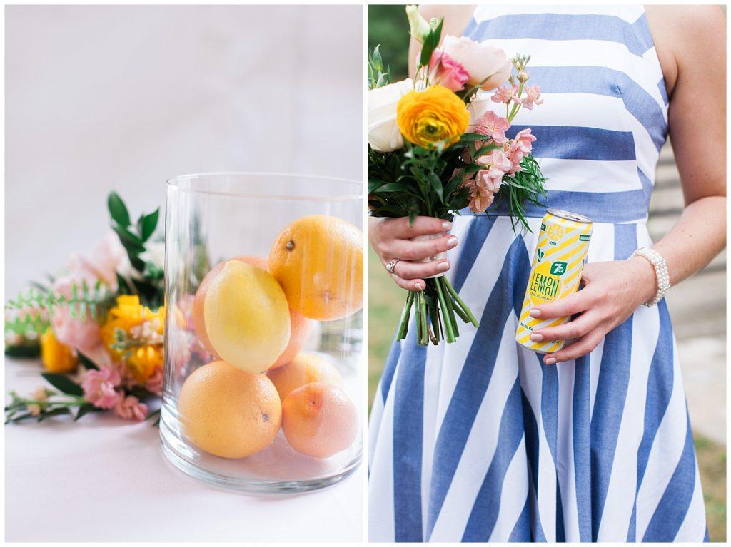 Lemon centerpiece, bridal bouquet and refreshing drink at Guelph Ontario Wedding | Ontario Wedding Photographer | Toronto Wedding Photographer | 3photography