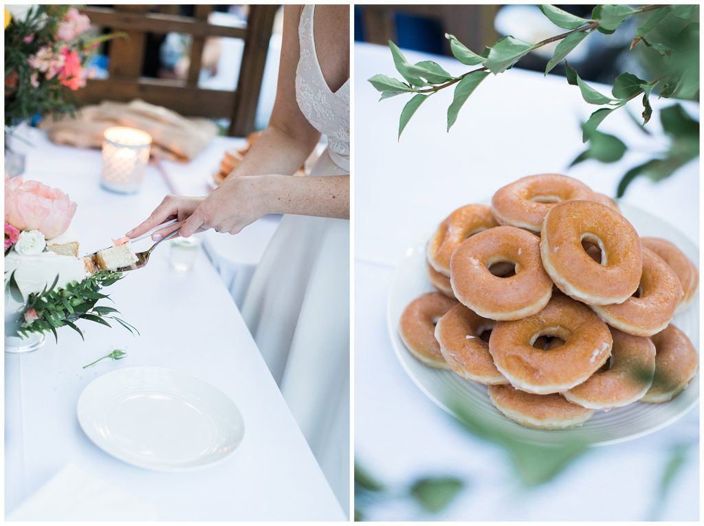 Bride cutting cake and a pile of donuts at reception at Guelph Ontario Wedding | Ontario Wedding Photographer | Toronto Wedding Photographer | 3photography
