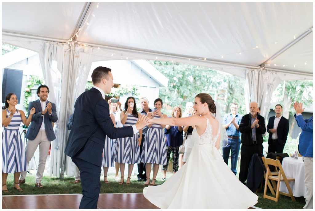 Bride and groom twirling during first dance at Guelph Ontario Wedding | Ontario Wedding Photographer | Toronto Wedding Photographer | 3photography