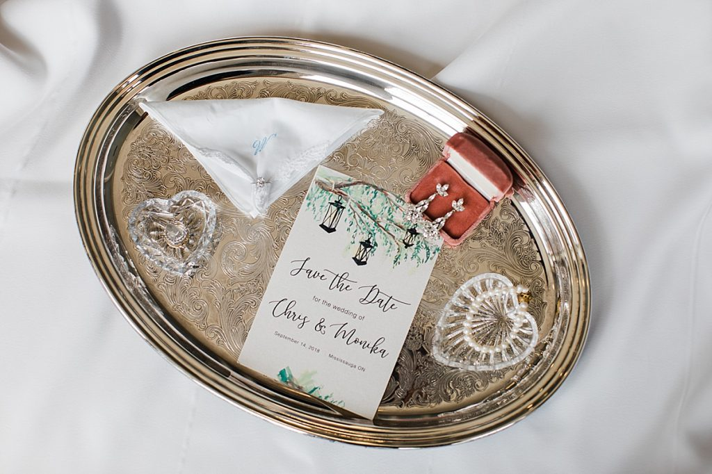 Bridal Jewelry on shiny serving tray|Harding Waterfront Estate Wedding| Ontario wedding photographer| Toronto wedding photographer| 3 Photography | 3photography.ca