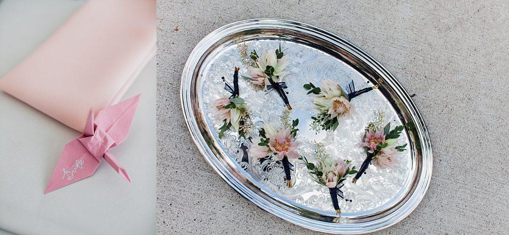 Boutonnieres on serving tray| Harding Waterfront Estate Wedding| Ontario wedding photographer| Toronto wedding photographer| 3 Photography | 3photography.ca