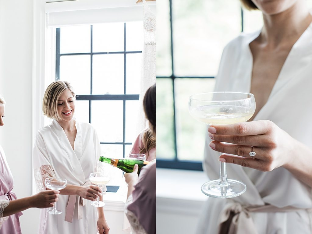 Bride toasting with bridesmaids | Harding Waterfront Estate Wedding| Ontario wedding photographer| Toronto wedding photographer| 3 Photography | 3photography.ca