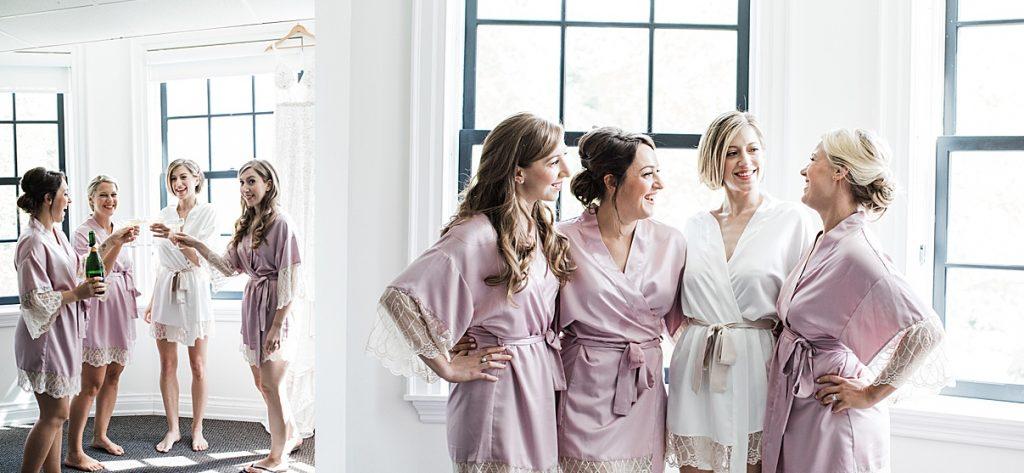 Cheers! Bride toasting with bridesmaids before wedding| Harding Waterfront Estate Wedding| Ontario wedding photographer| Toronto wedding photographer| 3 Photography | 3photography.ca