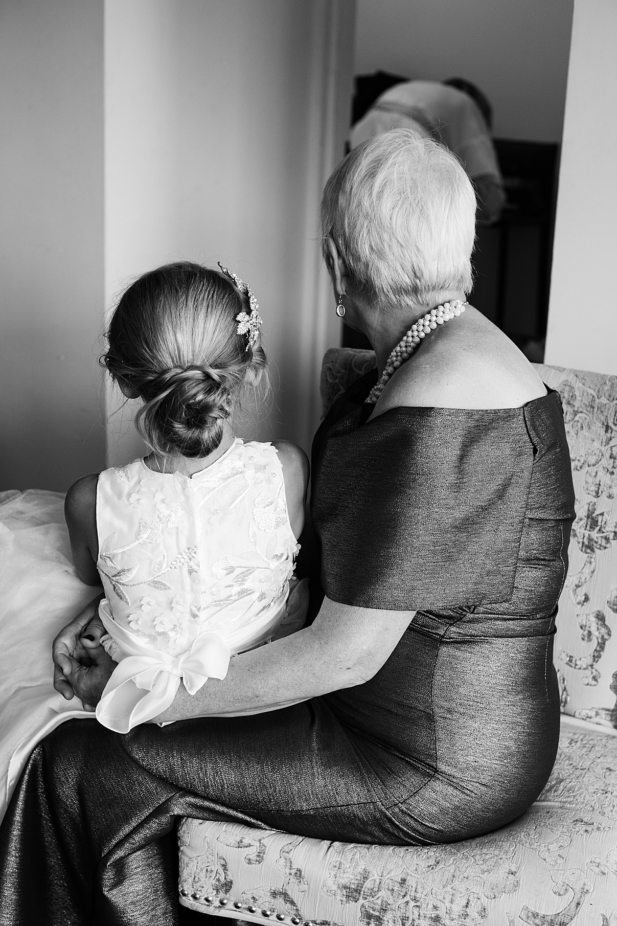 Black and white photo of brides mother and flower girl| Harding Waterfront Estate Wedding| Ontario wedding photographer| Toronto wedding photographer| 3 Photography | 3photography.ca