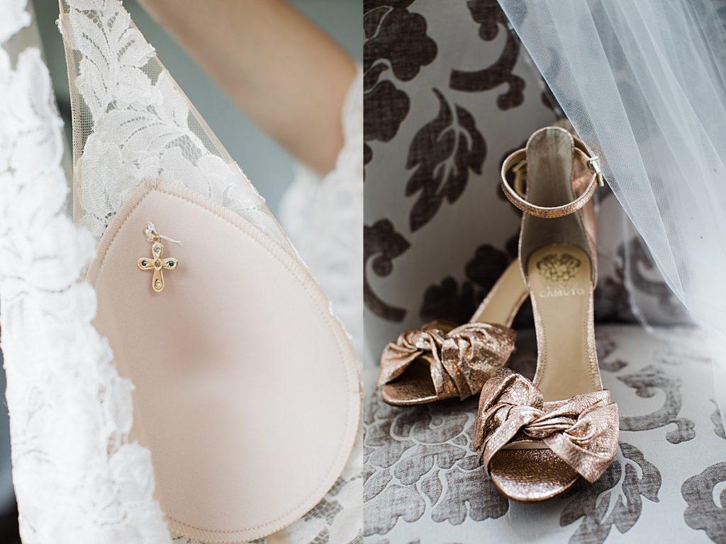 Wedding heels and small cross within dress| Harding Waterfront Estate Wedding| Ontario wedding photographer| Toronto wedding photographer| 3 Photography | 3photography.ca