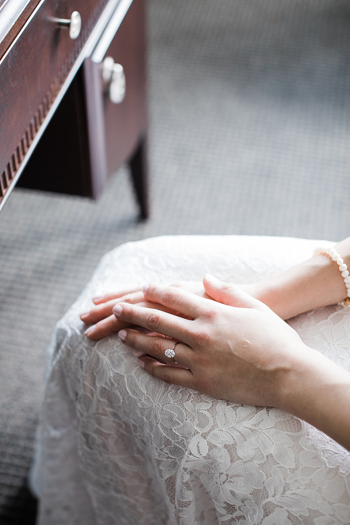 Bride with hands folded in lap| Harding Waterfront Estate Wedding| Ontario wedding photographer| Toronto wedding photographer| 3 Photography | 3photography.ca