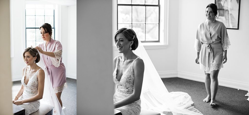 Black and white shot of bride sitting looking in mirror with veil out behind her| Harding Waterfront Estate Wedding| Ontario wedding photographer| Toronto wedding photographer| 3 Photography | 3photography.ca