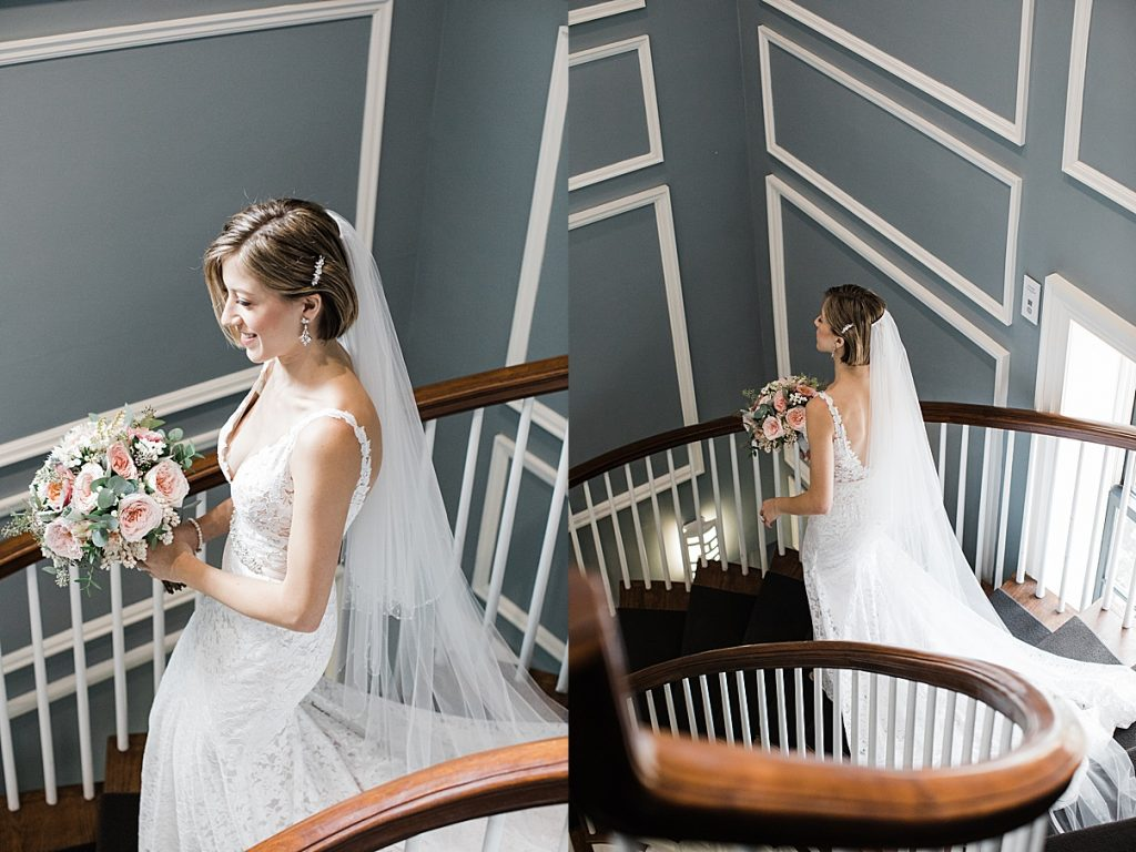 Bride walking down staircase| Harding Waterfront Estate Wedding| Ontario wedding photographer| Toronto wedding photographer| 3 Photography | 3photography.ca