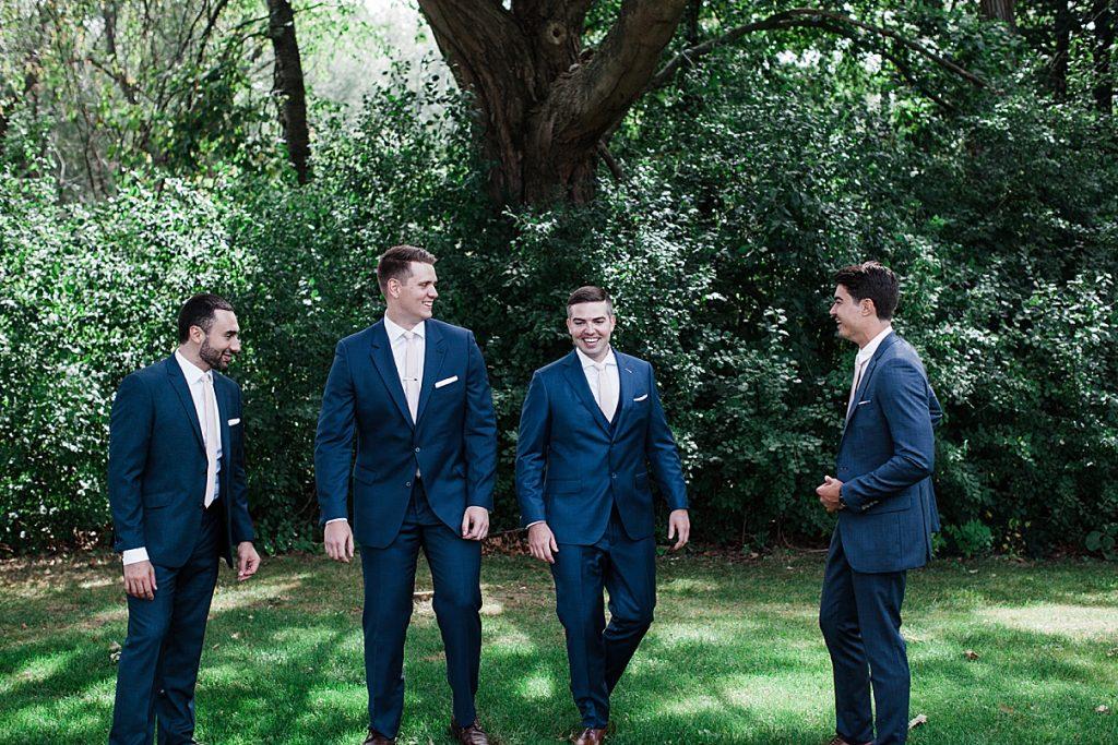 Groomsmen outside under tree| Harding Waterfront Estate Wedding| Ontario wedding photographer| Toronto wedding photographer| 3 Photography | 3photography.ca