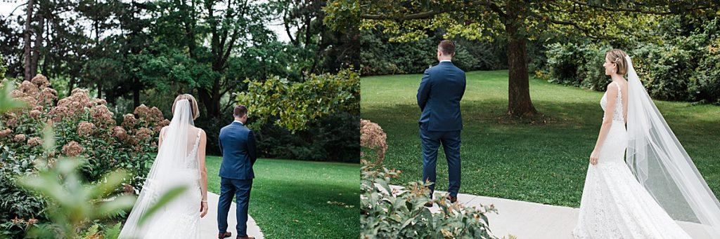 Groom waits on bride for first look| Harding Waterfront Estate Wedding| Ontario wedding photographer| Toronto wedding photographer| 3 Photography | 3photography.ca