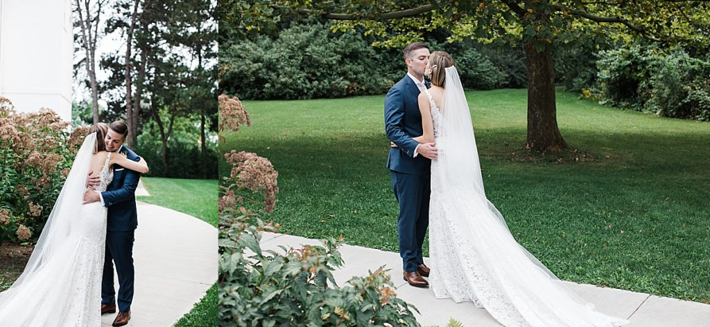 Bride and groom embrace after first look| Harding Waterfront Estate Wedding| Ontario wedding photographer| Toronto wedding photographer| 3 Photography | 3photography.ca