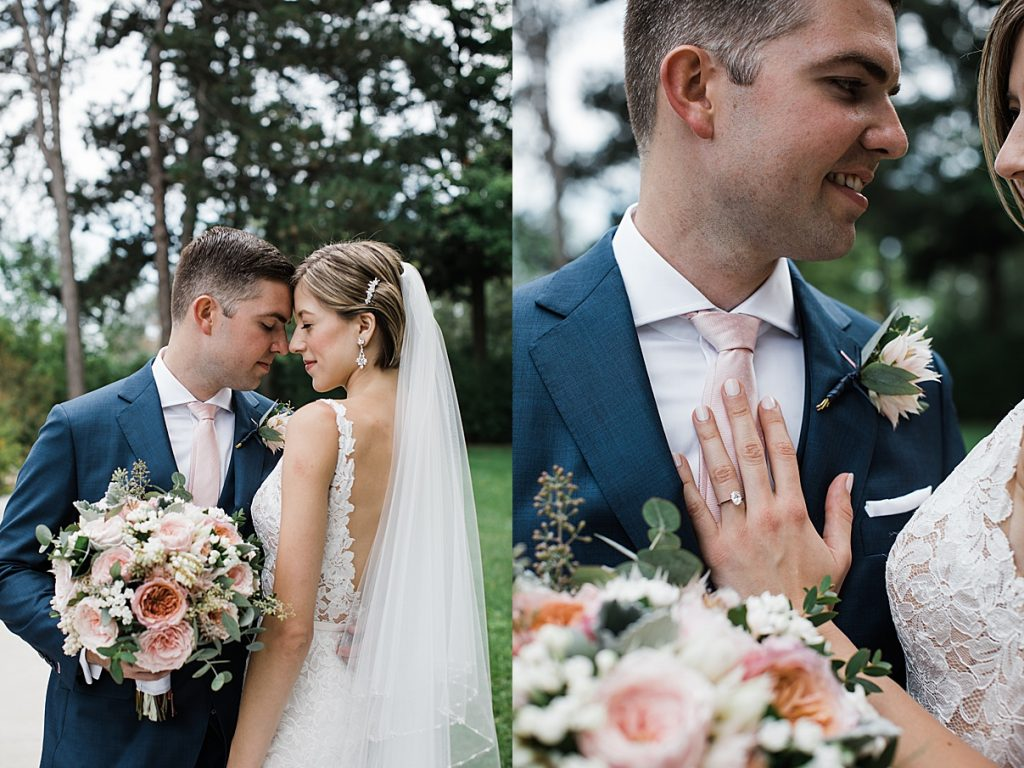 Bride stands with bouquet and left hand on groom's chest| Harding Waterfront Estate Wedding| Ontario wedding photographer| Toronto wedding photographer| 3 Photography | 3photography.ca
