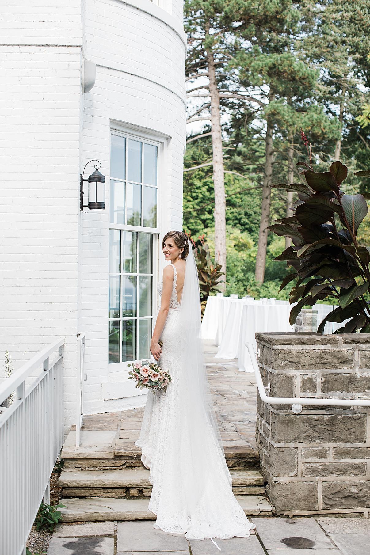 Bridal portrait -bride on steps| Harding Waterfront Estate Wedding| Ontario wedding photographer| Toronto wedding photographer| 3 Photography | 3photography.ca