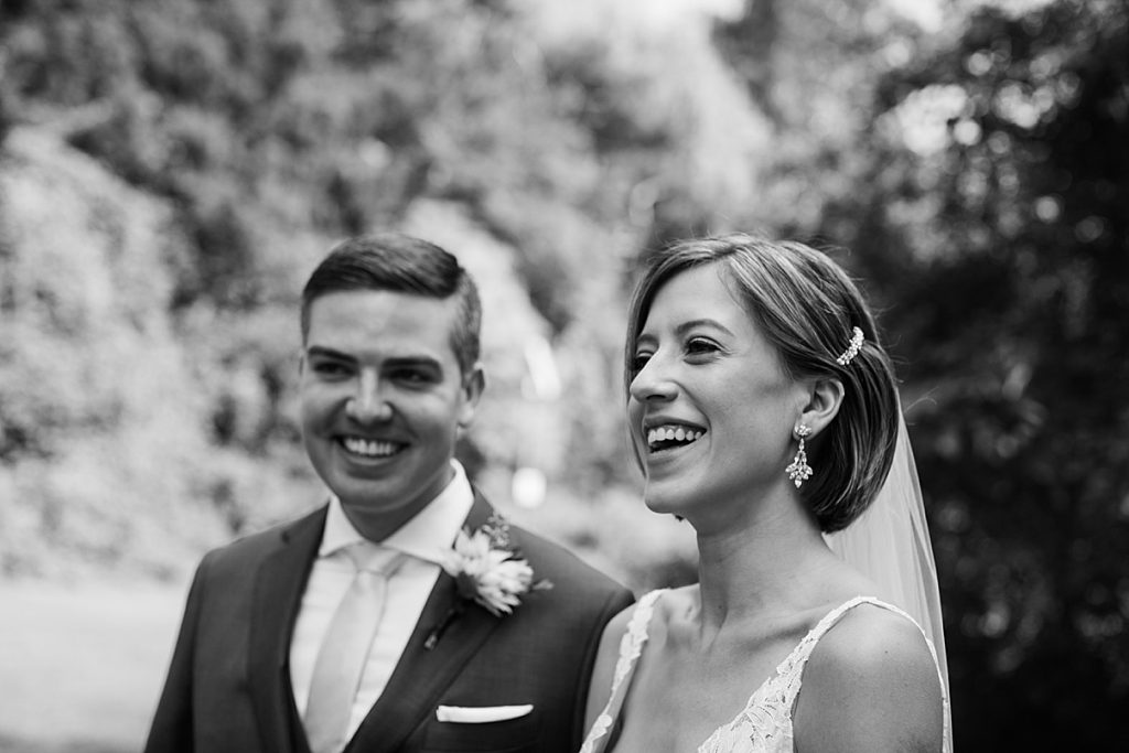 Black and white shot of bride and groom laughing| Harding Waterfront Estate Wedding| Ontario wedding photographer| Toronto wedding photographer| 3 Photography | 3photography.ca