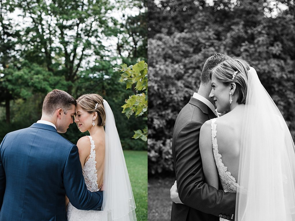 Bride and groom embrace surrounded by trees| Harding Waterfront Estate Wedding| Ontario wedding photographer| Toronto wedding photographer| 3 Photography | 3photography.ca