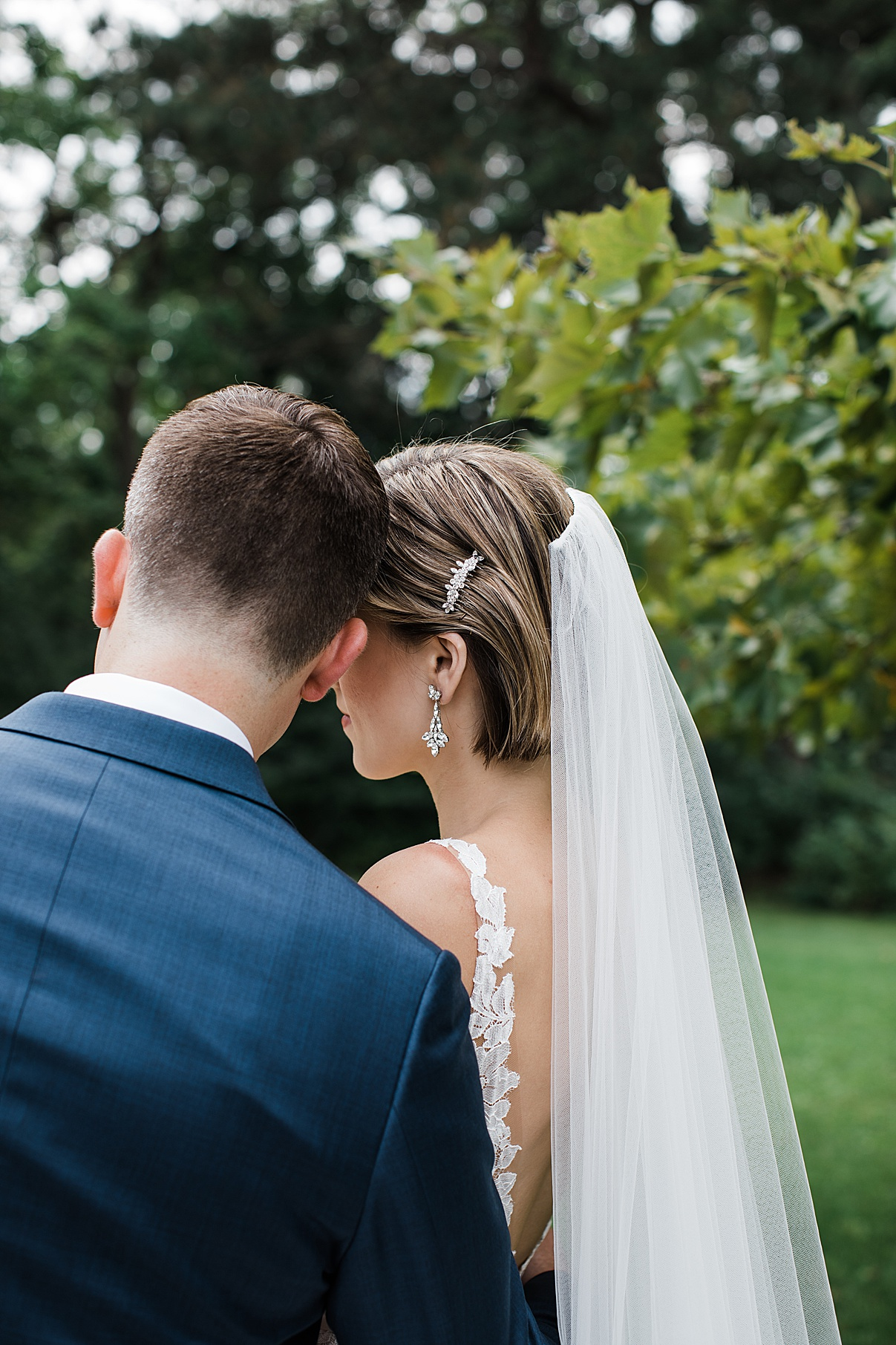 Bride and groom rest heads on each other| Harding Waterfront Estate Wedding| Ontario wedding photographer| Toronto wedding photographer| 3 Photography | 3photography.ca