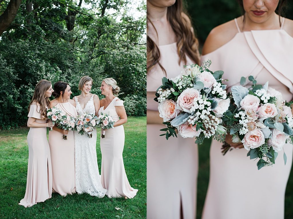 Bride with bridesmaids outside| Harding Waterfront Estate Wedding| Ontario wedding photographer| Toronto wedding photographer| 3 Photography | 3photography.ca