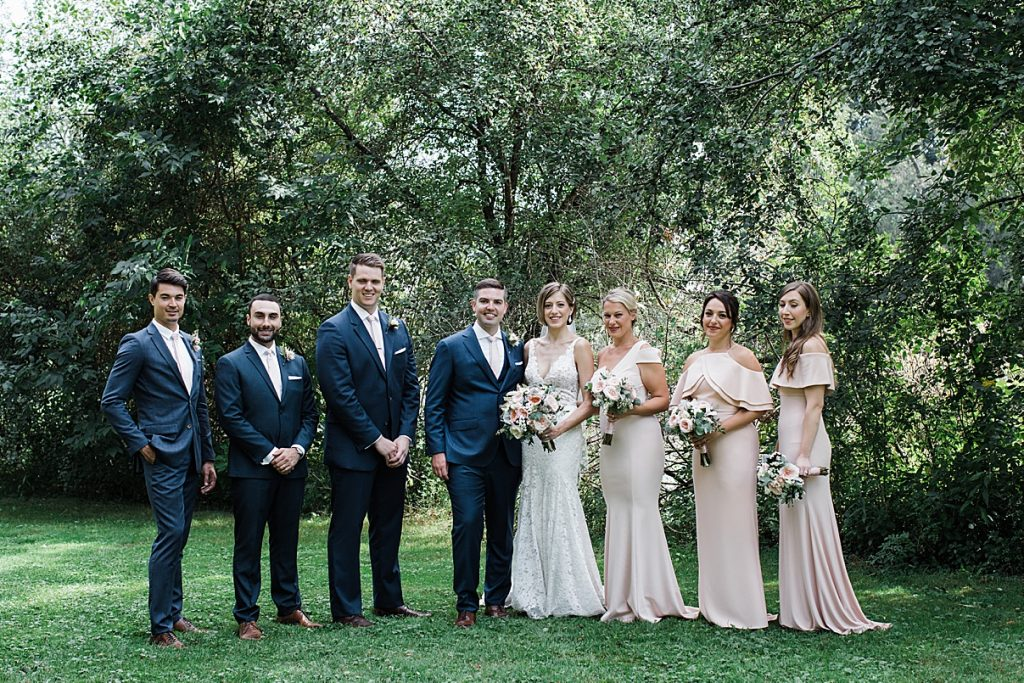 Outside bridal party portrait| Harding Waterfront Estate Wedding| Ontario wedding photographer| Toronto wedding photographer| 3 Photography | 3photography.ca