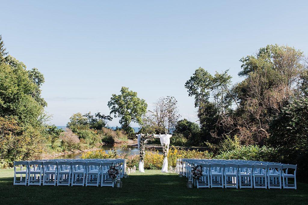 Outside ceremony chairs and alter| Harding Waterfront Estate Wedding| Ontario wedding photographer| Toronto wedding photographer| 3 Photography | 3photography.ca