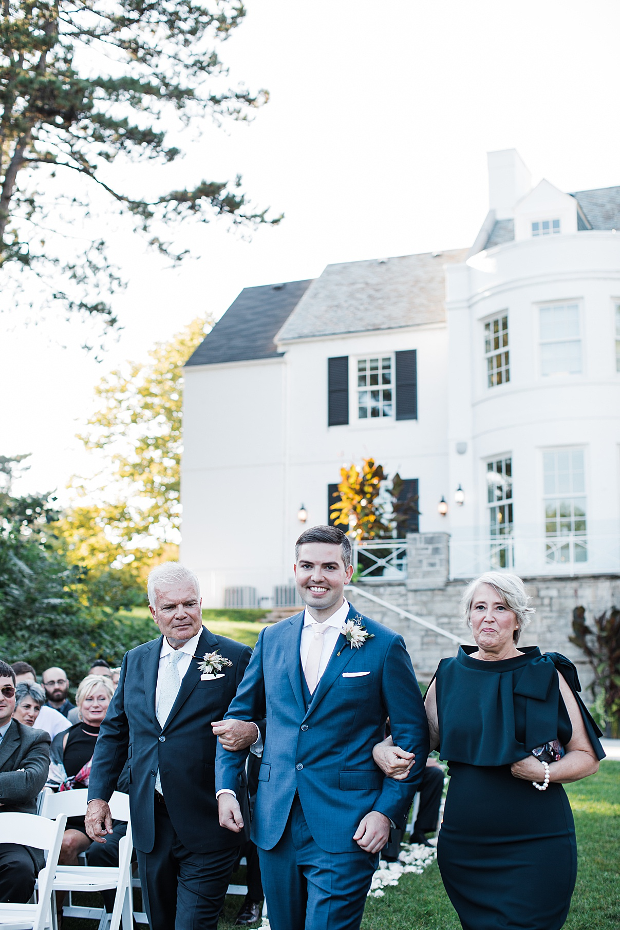 Groom walking down aisle with parents| Harding Waterfront Estate Wedding| Ontario wedding photographer| Toronto wedding photographer| 3 Photography | 3photography.ca