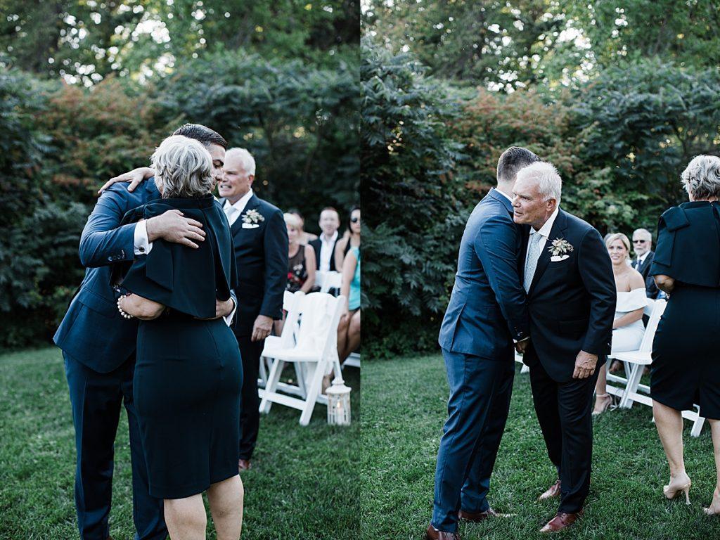 Groom hugging parents at alter| Harding Waterfront Estate Wedding| Ontario wedding photographer| Toronto wedding photographer| 3 Photography | 3photography.ca