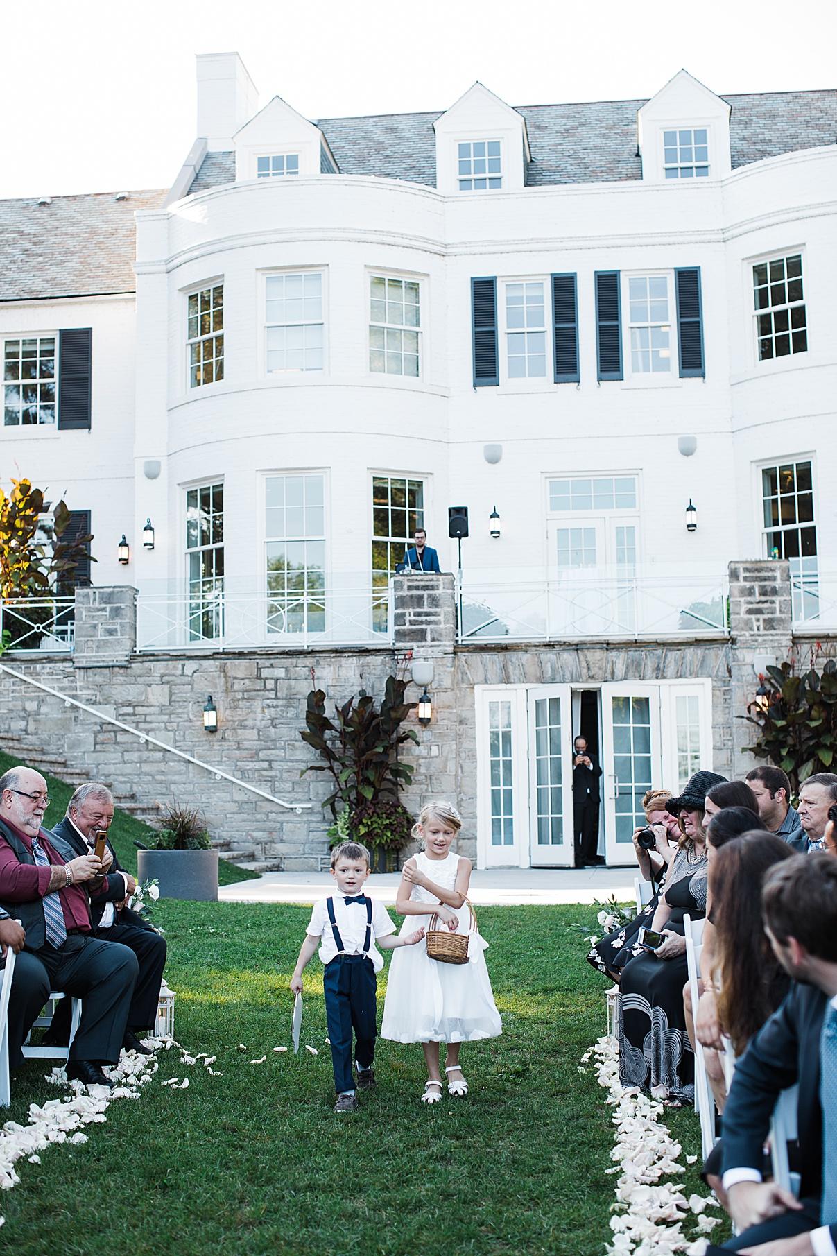 Flower girl and ring bearer walking down aisle| Harding Waterfront Estate Wedding| Ontario wedding photographer| Toronto wedding photographer| 3 Photography | 3photography.ca
