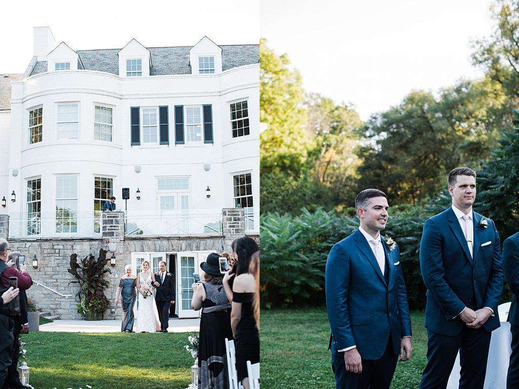 Groom sees bride walking down aisle| Harding Waterfront Estate Wedding| Ontario wedding photographer| Toronto wedding photographer| 3 Photography | 3photography.ca