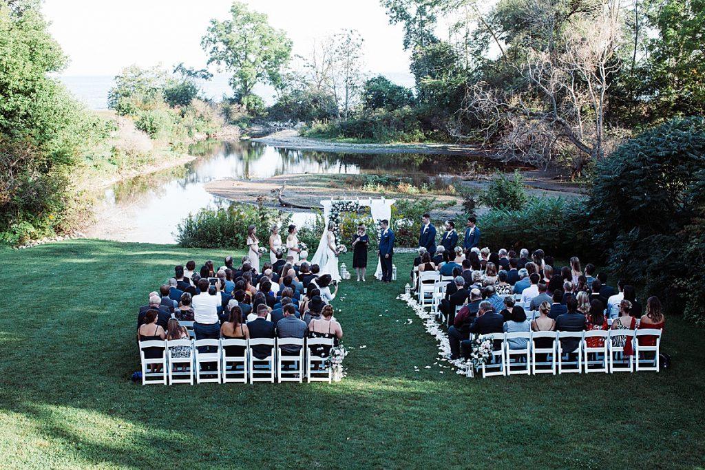 Overhead shot of wedding ceremony| Harding Waterfront Estate Wedding| Ontario wedding photographer| Toronto wedding photographer| 3 Photography | 3photography.ca