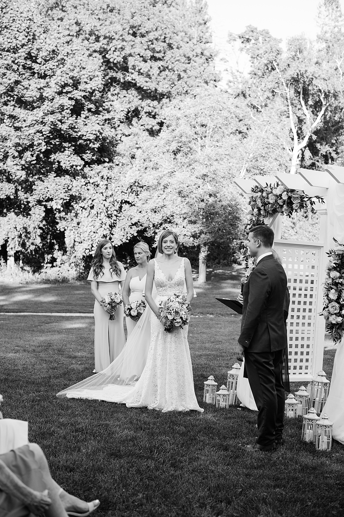 Black and white shot of bride smiling at alter| Harding Waterfront Estate Wedding| Ontario wedding photographer| Toronto wedding photographer| 3 Photography | 3photography.ca
