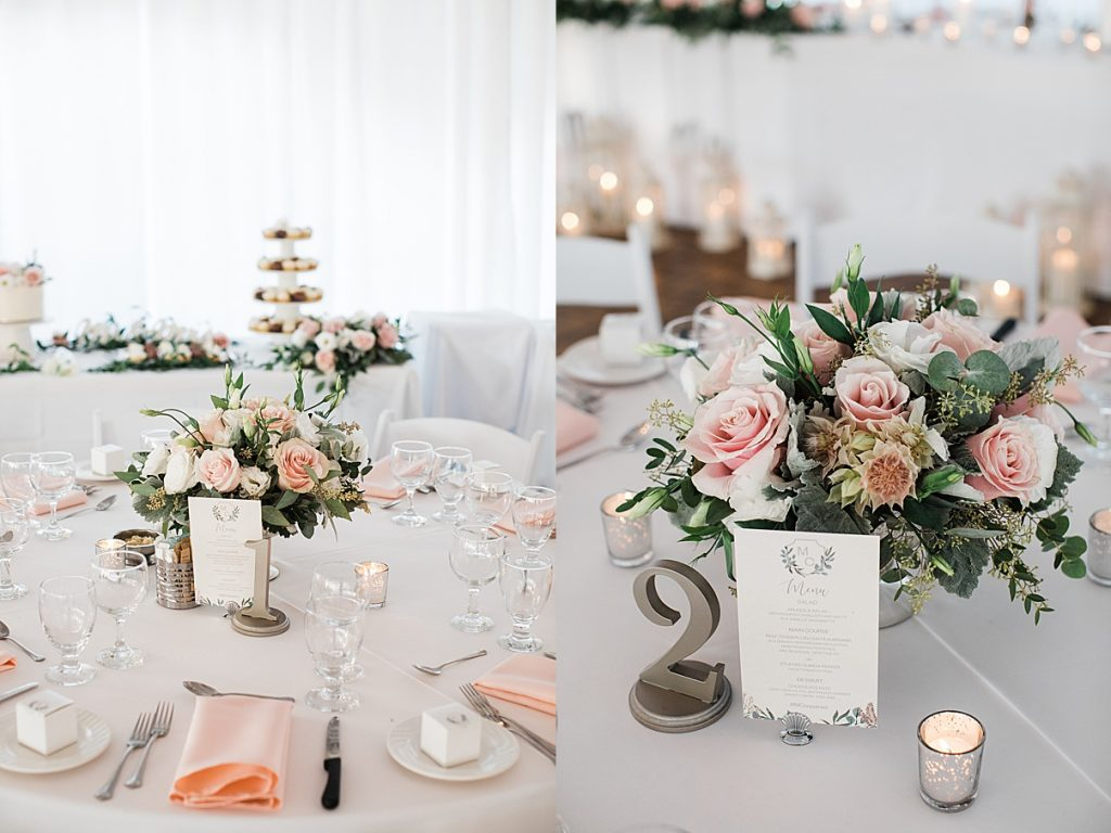 Wedding reception table setting flowers and candles| Harding Waterfront Estate Wedding| Ontario wedding photographer| Toronto wedding photographer| 3 Photography | 3photography.ca