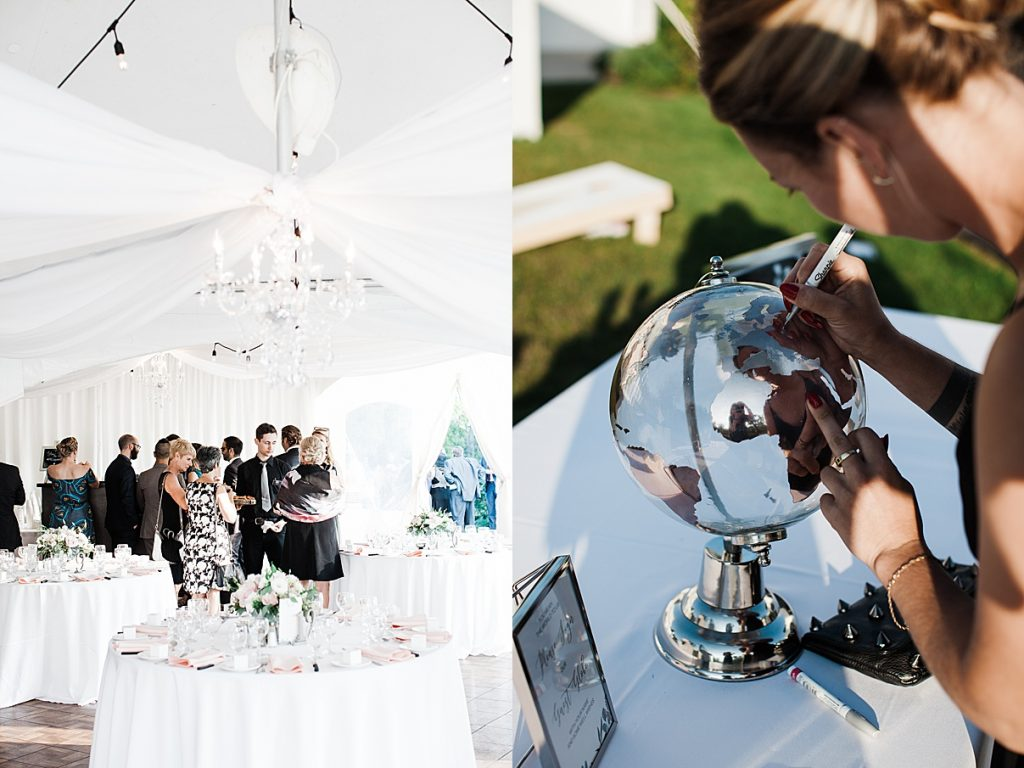 Wedding guests mingling and signing guest globe| Harding Waterfront Estate Wedding| Ontario wedding photographer| Toronto wedding photographer| 3 Photography | 3photography.ca