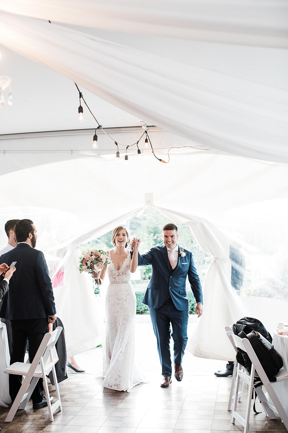 Bride and groom entering wedding reception| Harding Waterfront Estate Wedding| Ontario wedding photographer| Toronto wedding photographer| 3 Photography | 3photography.ca