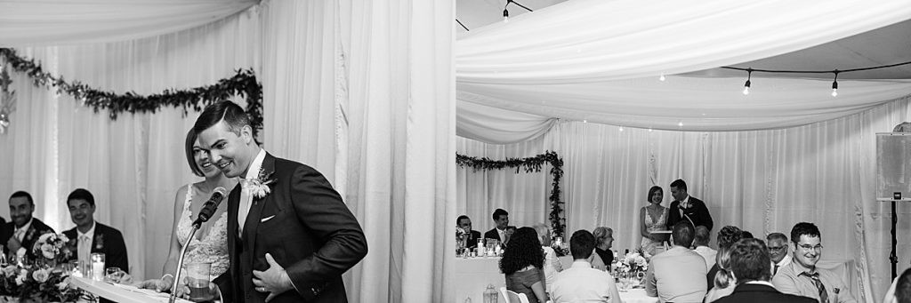 Wedding speech from groom and bride| Harding Waterfront Estate Wedding| Ontario wedding photographer| Toronto wedding photographer| 3 Photography | 3photography.ca