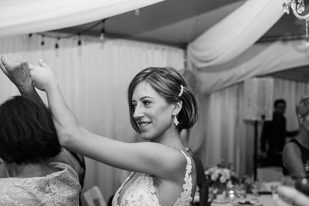 Black and white shot of bride dancing| Harding Waterfront Estate Wedding| Ontario wedding photographer| Toronto wedding photographer| 3 Photography | 3photography.ca