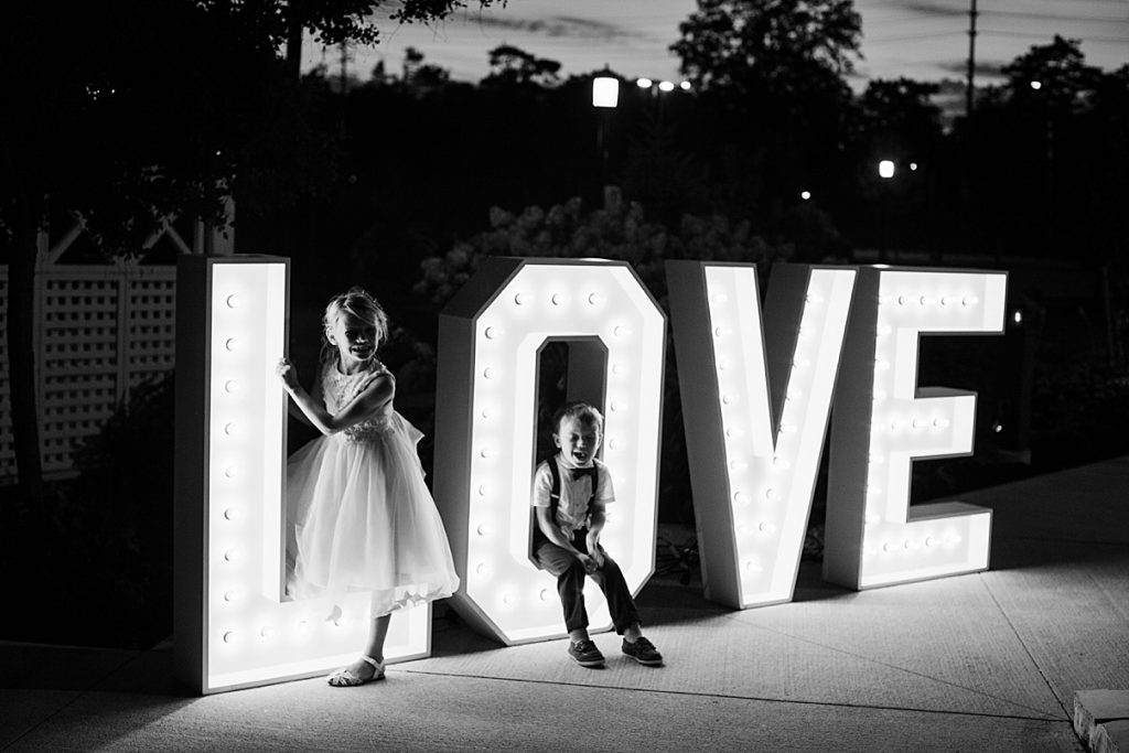 Flower girl and ring barer with LOVE marquee| Harding Waterfront Estate Wedding| Ontario wedding photographer| Toronto wedding photographer| 3 Photography | 3photography.ca