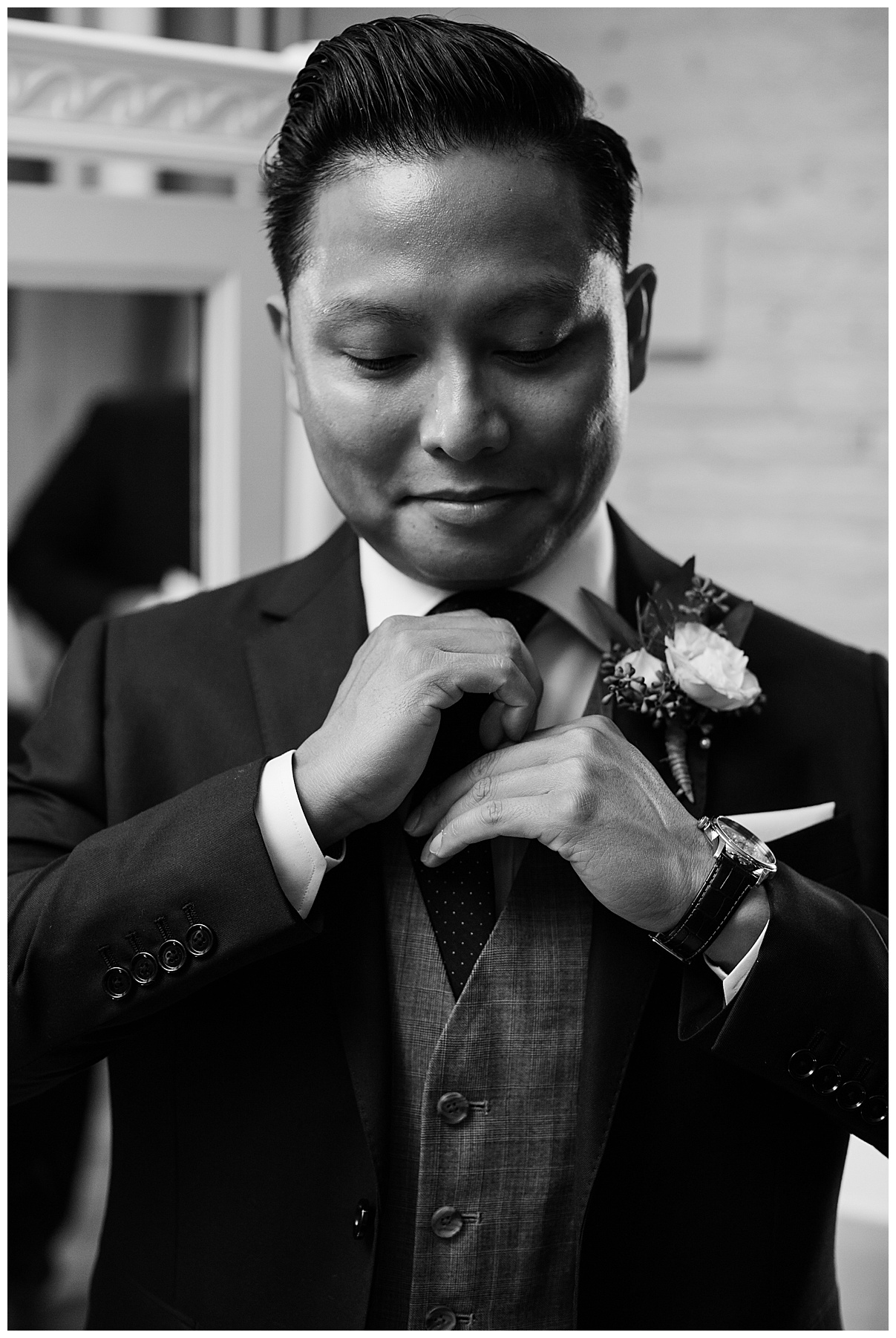 Black and white shot of groom getting ready| The George Restaurant Wedding| Toronto Wedding Photographer| Ontario wedding photographer| 3photography