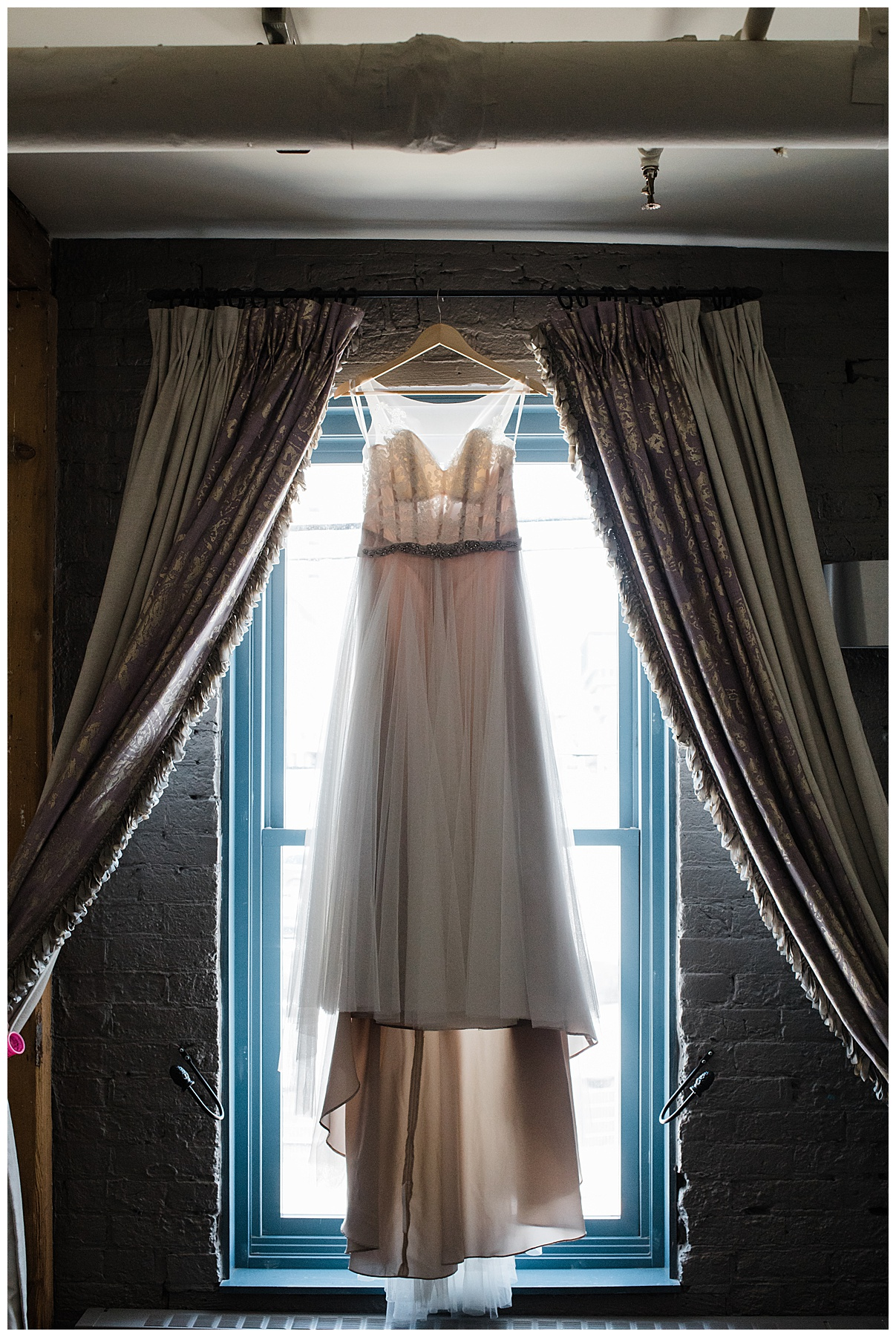 Wedding gown hanging in front of mirror| The George Restaurant Wedding| Toronto Wedding Photographer| Ontario wedding photographer| 3photography