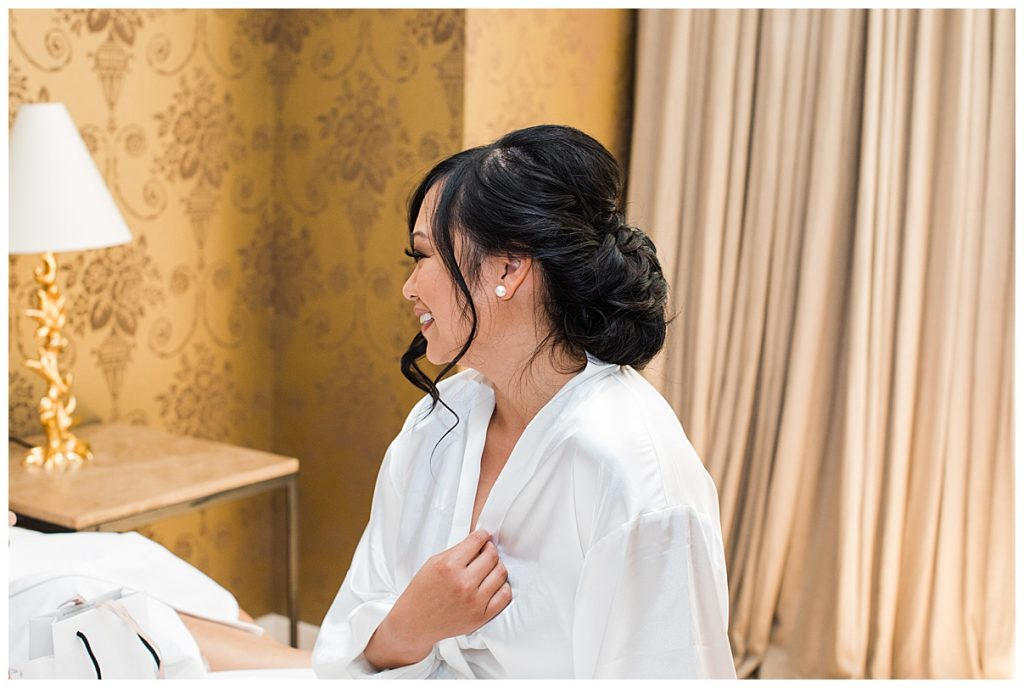 Bride laughing in robe| The George Restaurant Wedding| Toronto Wedding Photographer| Ontario wedding photographer| 3photography