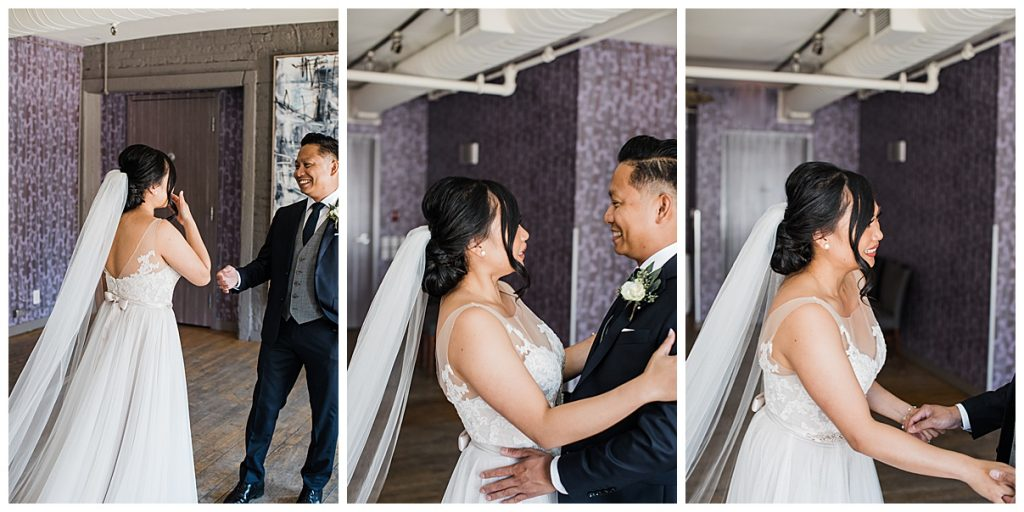 Bride and groom embrace at first look| The George Restaurant Wedding| Toronto Wedding Photographer| Ontario wedding photographer| 3photography