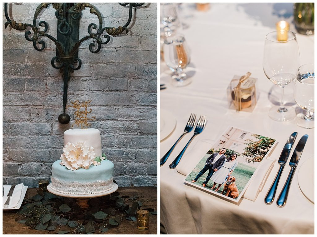 Blue and white wedding cake and table setting| The George Restaurant Wedding| Toronto Wedding Photographer| Ontario wedding photographer| 3photography