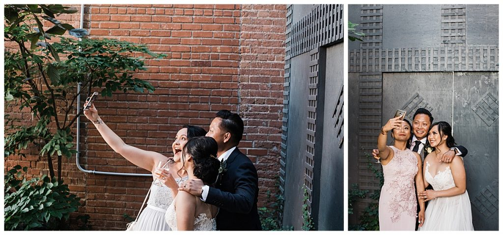 Wedding guests take selfies with bride and groom| The George Restaurant Wedding| Toronto Wedding Photographer| Ontario wedding photographer| 3photography