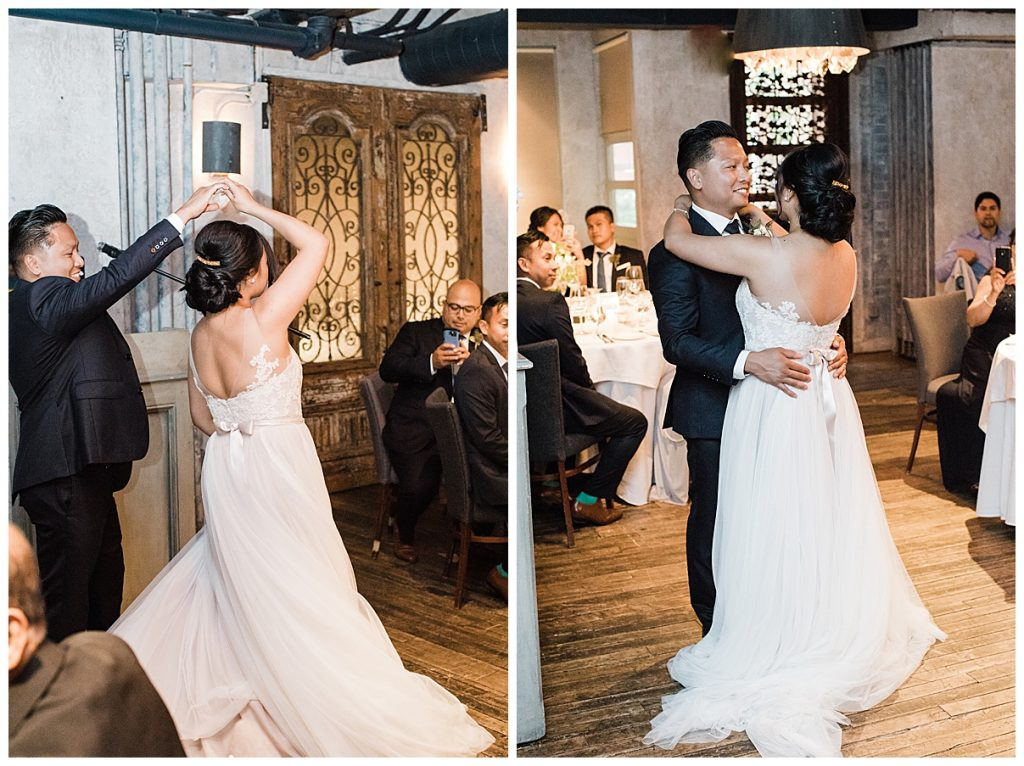 Bride and groom twirl first dance| The George Restaurant Wedding| Toronto Wedding Photographer| Ontario wedding photographer| 3photography
