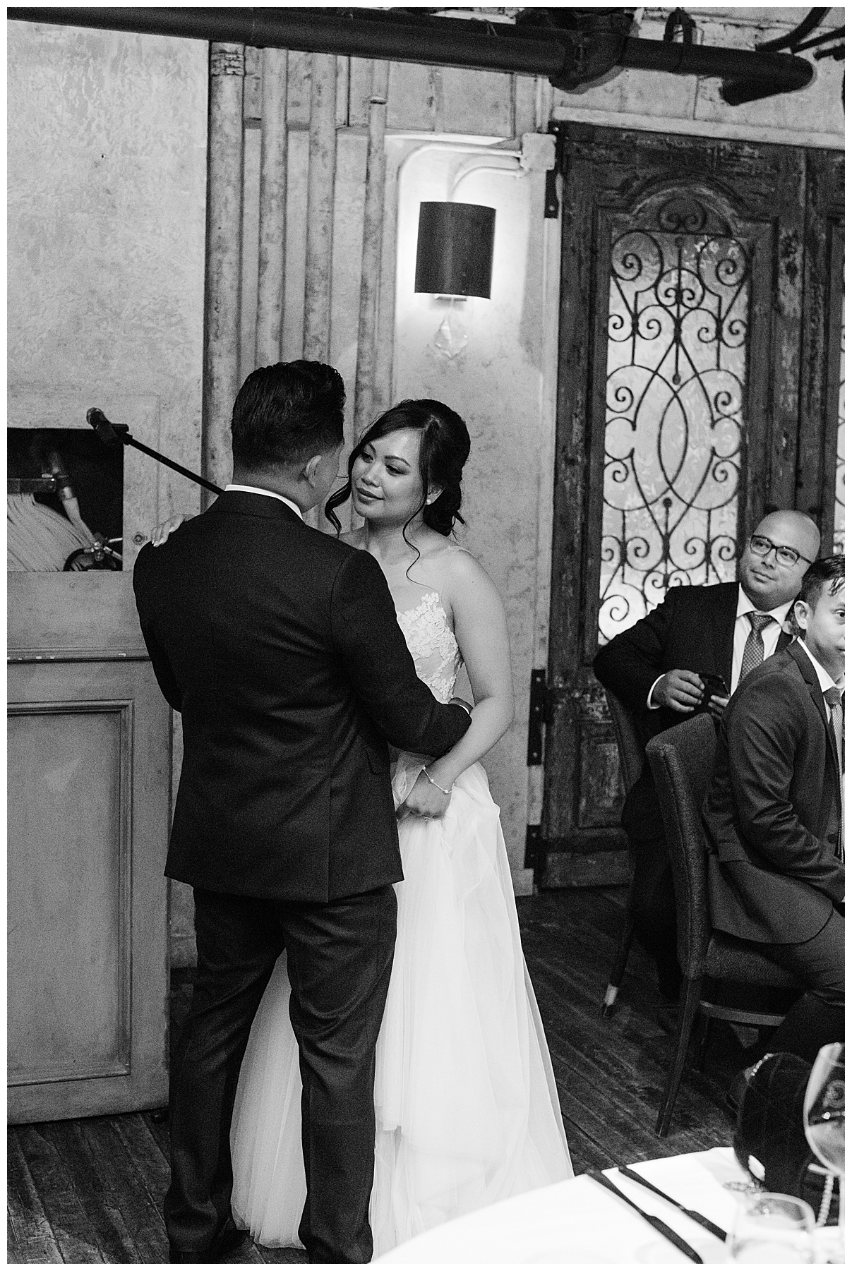 Black and white shot of bride and groom during first dance| The George Restaurant Wedding| Toronto Wedding Photographer| Ontario wedding photographer| 3photography