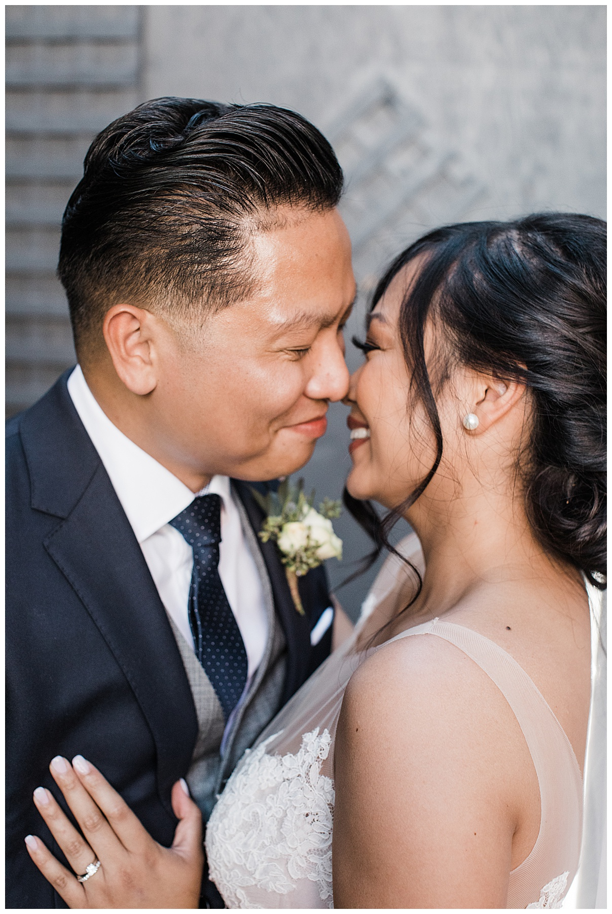 Bride and groom nearly kiss| The George Restaurant Wedding| Toronto Wedding Photographer| Ontario wedding photographer| 3photography