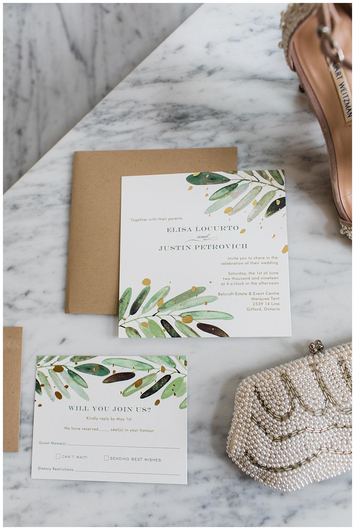 Leafy wedding invitations| Belcroft Estate Wedding| Toronto wedding photographer| Ontario wedding photographer| 3photography
