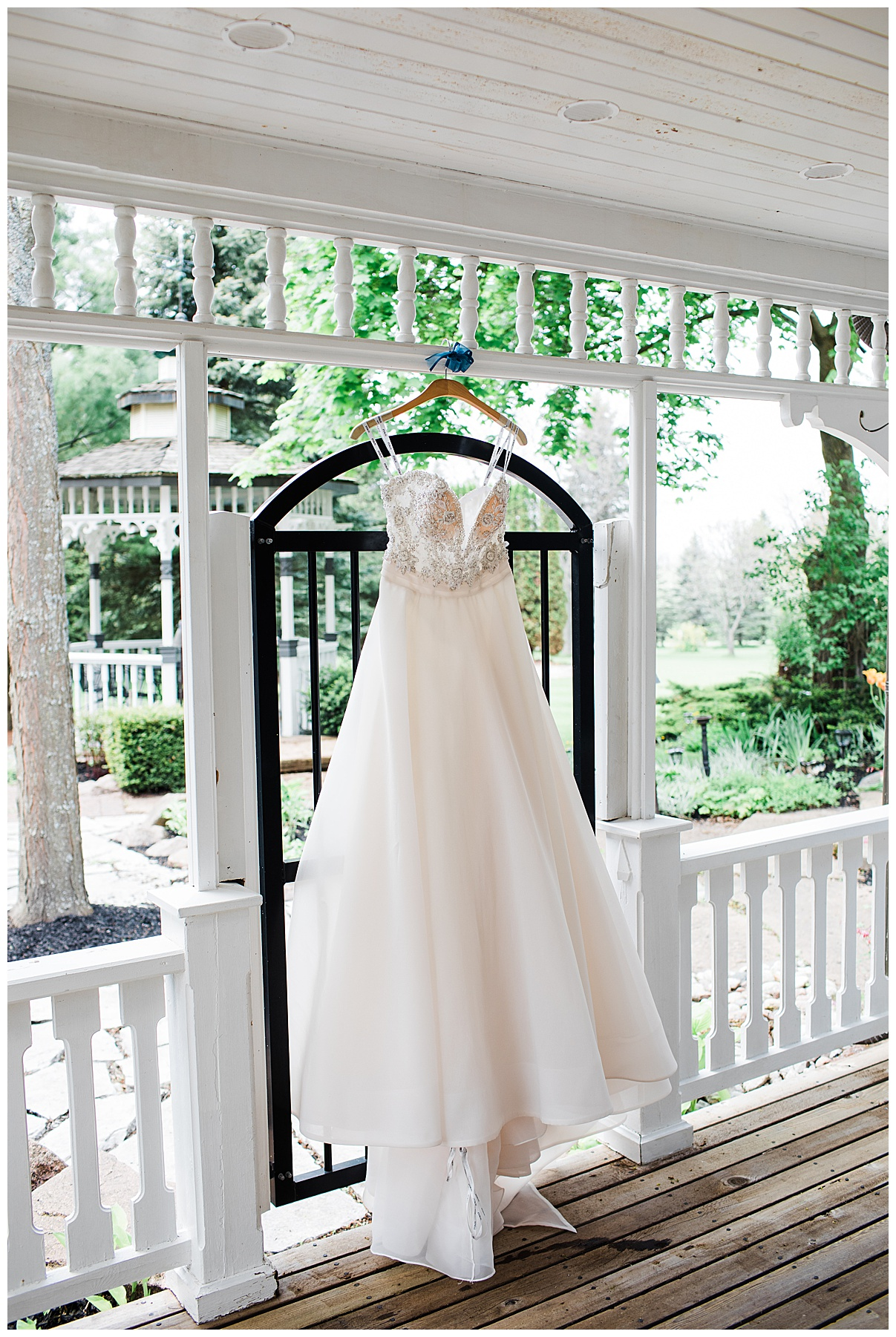 Wedding gown hanging outside| Belcroft Estate Wedding| Toronto wedding photographer| Ontario wedding photographer| 3photography