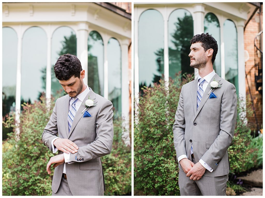 Groom standing outside checking the time and waiting for bride| first look|  Belcroft Estate Wedding| Toronto wedding photographer| Ontario wedding photographer| 3photography