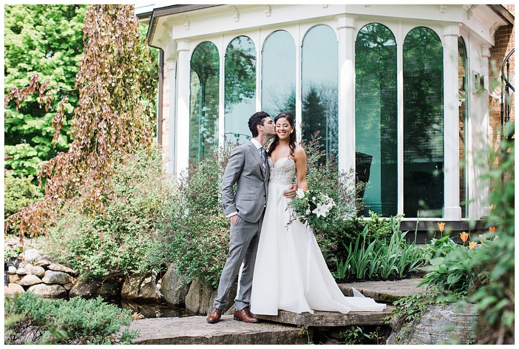 Groom kissing bride on cheek|  Belcroft Estate Wedding| Toronto wedding photographer| Ontario wedding photographer| 3photography